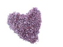 Lavender salt spa καρδιών απομονώνει στο άσπρο υπόβαθρο Στοκ Φωτογραφία