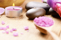 Lavender salt spa set royalty free stock photography
