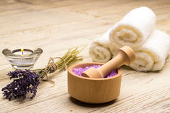 Lavender salt towel table wood soap candle Stock Photography