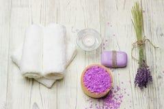 Lavender salt towel table wood soap candle lavender Stock Image