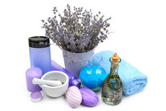 Lavender, scented candles, soap and shampoo Stock Photo