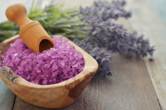 Lavender with sea salt Royalty Free Stock Image