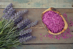 Lavender with sea salt Royalty Free Stock Photography