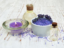 Lavender, sea salt and candle Stock Images
