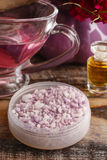 Lavender sea salt and jug of pink liquid soap Royalty Free Stock Photo