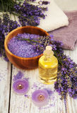 Lavender, sea salt, oil  and candle Stock Image