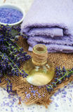 Lavender, sea salt and oil Royalty Free Stock Images