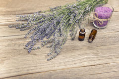 Lavender and sea salt on old boards Photos stock
