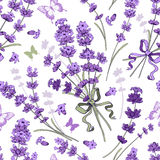 Lavender seamless pattern. Seamless pattern with hand drawn floral elements in engraving style - fragrant lavender. Vector illustration Stock Photography