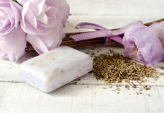 Lavender seeds and bar of soap Royalty Free Stock Photo