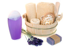 Lavender shower gel Stock Photography