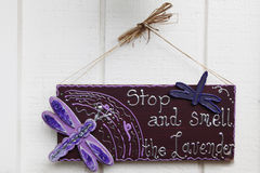 Lavender Sign. Stop and Smell the Lavender sign at a local market Stock Photos