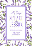 Lavender sign label. Marriage invitation card with custom sign and flower frame. Lavender frame for provence card. Printable vintage marriage invitation with Royalty Free Stock Photography