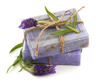 Lavender soap bars with fresh blossoms Stock Photos