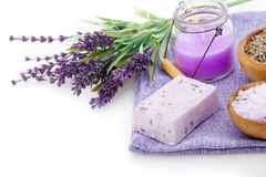 Lavender soap, bath salt and candle Royalty Free Stock Photo