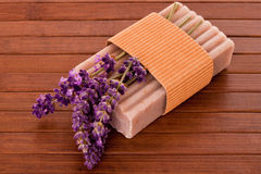 Lavender soap with blossoms Royalty Free Stock Image