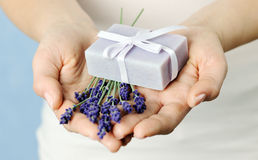 Lavender and soap stock photo