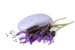 Lavender Soap and Flowers  Royalty Free Stock Image