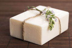 Lavender soap with flowers Royalty Free Stock Photos