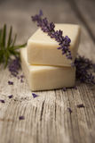 Lavender Soap and lavender sprigs Stock Images