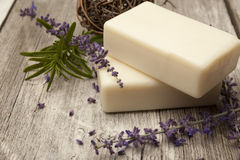Lavender Soap and lavender sprigs Stock Photo