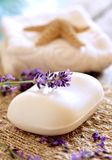Lavender soap. And mediterranean decoration Royalty Free Stock Photos