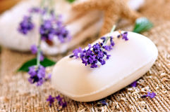 Lavender soap. And mediterranean decoration Royalty Free Stock Images