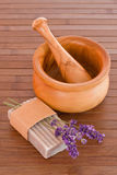 Lavender soap with mortar Stock Photos