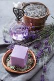 Lavender soap and perfume oil, made from fresh lavender flowers, aroma spa treathment and bodycare for women. Lavender soap and natural perfumed oil, made from stock photo