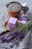 Lavender soap and perfume oil, made from fresh lavender flowers, aroma spa treathment and bodycare for women. Lavender soap and natural perfumed oil, made from royalty free stock photos