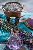 Lavender soap and perfume oil, made from fresh lavender flowers, aroma spa treathment and bodycare for women. Lavender soap and natural perfumed oil, made from stock image