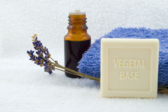 Lavender soap and oil Stock Photos