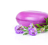 Lavender soap and oil with fresh lavender Stock Photography