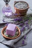 Lavender soap and perfume oil, made from fresh lavender flowers, aroma spa treathment and bodycare for women. Lavender soap and natural perfumed oil, made from stock photography