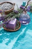 Lavender soap and perfume oil, made from fresh lavender flowers, aroma spa treathment and bodycare for women. Lavender soap and natural perfumed oil, made from royalty free stock photography