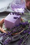 Lavender soap and perfume oil, made from fresh lavender flowers, aroma spa treathment and bodycare for women. Lavender soap and natural perfumed oil, made from stock images