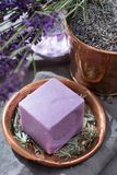 Lavender soap and perfume oil, made from fresh lavender flowers, aroma spa treathment and bodycare for women. Lavender soap and natural perfumed oil, made from stock photos