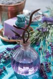 Lavender soap and perfume oil, made from fresh lavender flowers, aroma spa treathment and bodycare for women. Lavender soap and natural perfumed oil, made from royalty free stock image