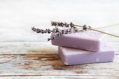 Lavender soap. On rustic wooden board Royalty Free Stock Photos