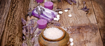 Lavender soap, scented salt and spa stones - spa concept Stock Photos
