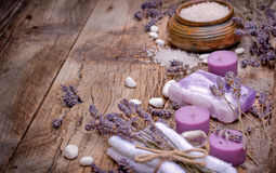 Lavender soap, scented salt and spa stones - spa concept Royalty Free Stock Photos