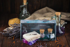 Lavender soap and sea salt Stock Photography
