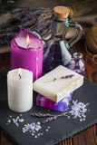 Lavender soap and sea salt Royalty Free Stock Photos