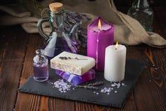 Lavender soap and sea salt Stock Photos