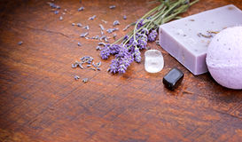 Lavender soap - spa concept Stock Images