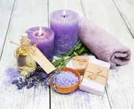 Lavender with soap Stock Photography