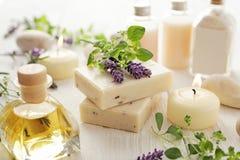 Lavender SPA καλλυντικά Στοκ Φωτογραφία