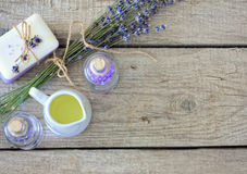 Lavender spa σύνολο Στοκ εικόνες με δικαίωμα ελεύθερης χρήσης