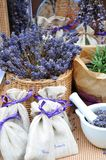 Lavender spa. Tools - bags with dried lavender flowers, salt Royalty Free Stock Photos