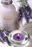 Lavender spa. Some objects of relaxation and body treatment Stock Image